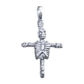 Zilveren kruis met skelet
