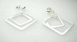 zilveren oorbellen vierkanten