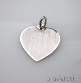 zilveren hartje matgravure