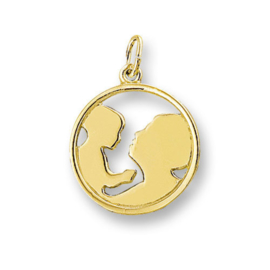 Gouden Moeder kind hanger