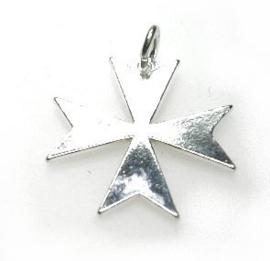 Zilveren Malterzer kruis hanger