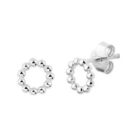 Zilveren steker met bolletjes cirkel