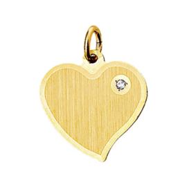 Gouden Graveerplaatje hartje met CZ