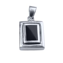 Rechthoekig echt zilveren hangertje met onyx