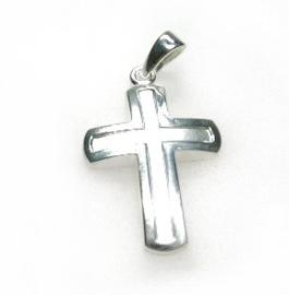 zilveren latijns kruis mat poli