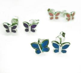 kinderoorbellen met roze, blauwe of paarse vlinder