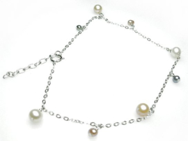 Zilveren enkelbandje met parels
