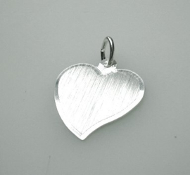 zilveren hartje mat/facet