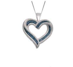 hartje zilver met blauwe diamanten