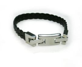gevlochten zwart leren armband