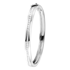 Zilveren Bangle met zirconia