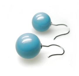 zilveren oorbellen met turkooise kleur bol