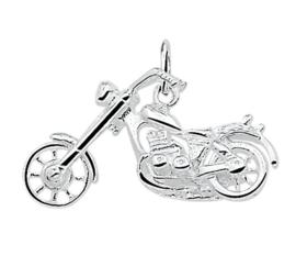 zilveren motorfiets chopper