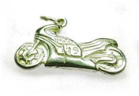 zilveren motorfiets