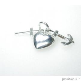 zilveren hoop geloof en liefde hangertje