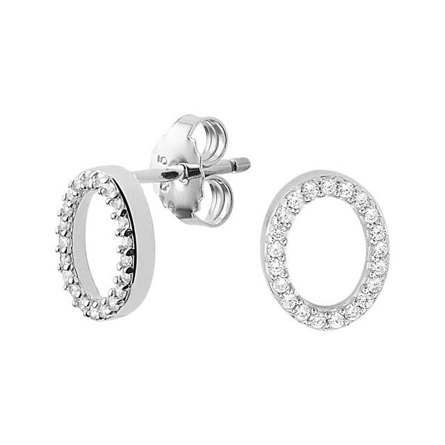 ovale oorbel zilver met zirconia