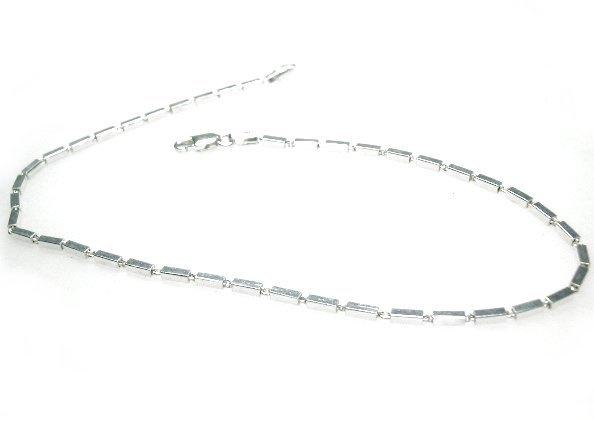 Zilveren enkelbandje 24 centimeter staafjes
