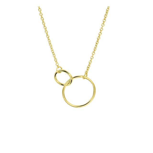 Trendy geelgoud op 925 zilveren anker collier  met open cirkels