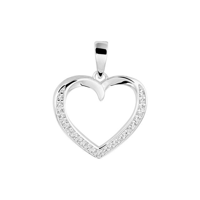 Zilveren hangertje hart met steentjes