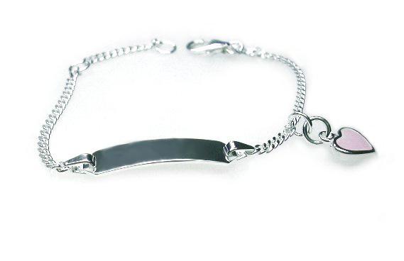 Zilveren kinder armbandje graveer hartje