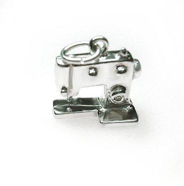 zilveren naaimachine hanger/bedel