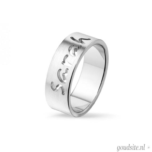 Zilveren ring met naam