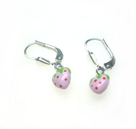 kinderoorbellen met roze aardbeitje
