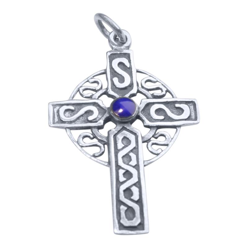 Echt zilveren kruis met lapis