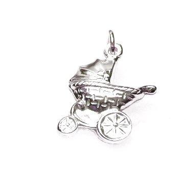 zilveren kinderwagen bedel