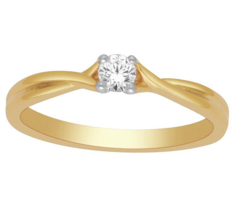 Geelgouden solitair ring met Briljant 0.15crt