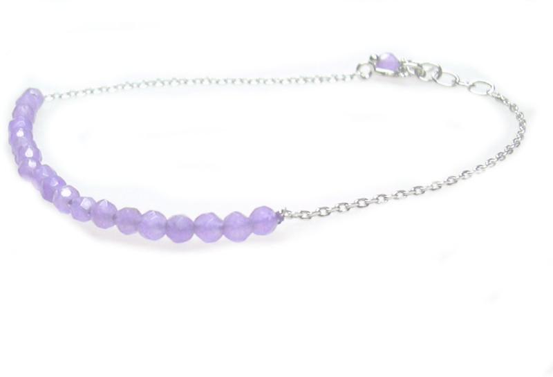 zilveren armbandje met paarse jade