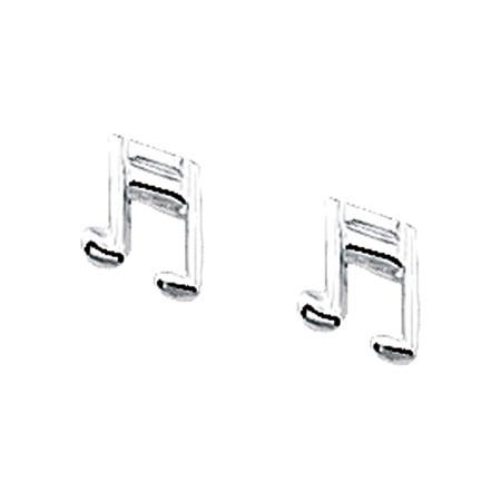 Zilveren muzieknoot oorstekers