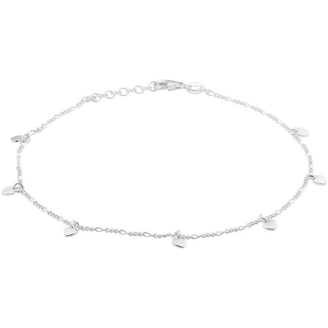 Zilver gerhodineerd enkelbandje met hartjes