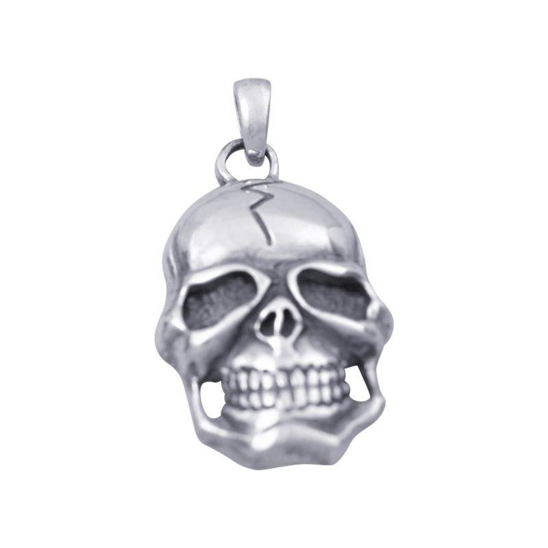 Grote zilveren schedel hanger