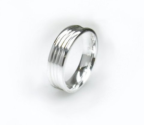 zilveren ring 6mm. streep