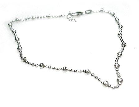 Zilveren enkelbandje 26 centimeter balletjes