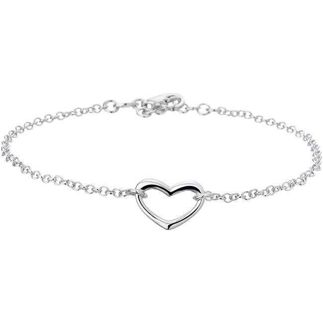 Trendy gerhodineerd zilveren enkelbandje met een open hartje