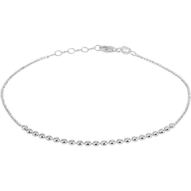Zilveren enkelbandje gediamanteerd 24 >26 centimeter.