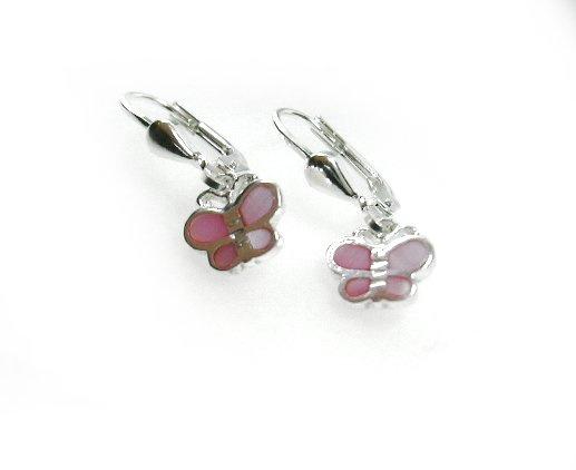 kinderoorbellen met roze vlinder