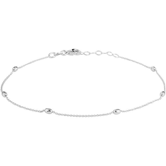 Trendy gerhodineerd zilveren enkelbandje