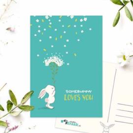 Sd ansichtkaart konijn bloemen