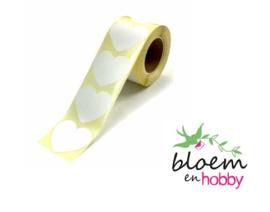 Witte hartjes stickers per 15 stuks