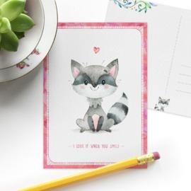 SD ansichtkaart wasbeer
