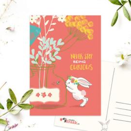 SD ansichtkaart konijn vaas