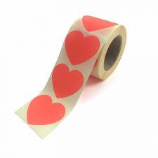 Neon kleur hartjes stickers per 15 stuks.
