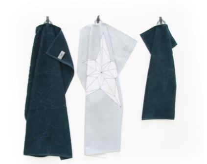 Handdoek, theedoek en gastendoekje blauw