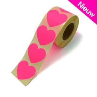 Roze hartjes stickers 15 stuks