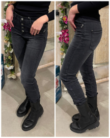 Jeans Karostar met knopen grijs en strass