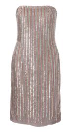 Gold paillette strapless jurk