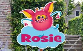 Geboortebord Rosie  -  grappig monstertje op wolk